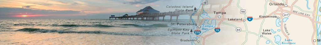 Travel map header featuring a photo of florida collaged with a map