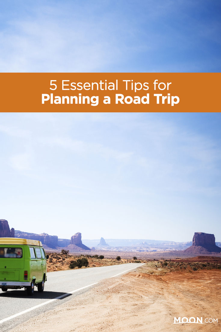 A van driving through the Southwest with text reading 5 Essential Tips for Planning a Road Trip.