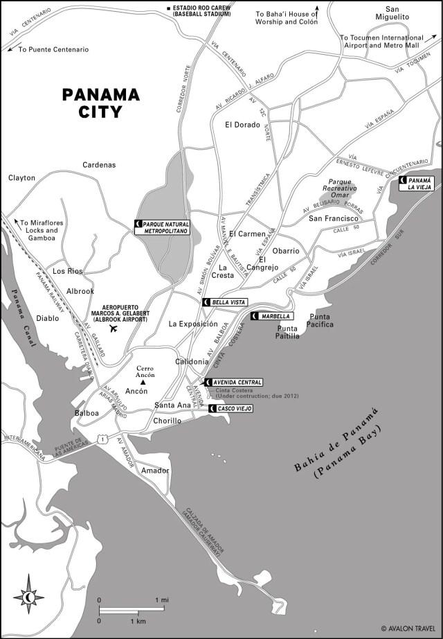 Map of Panama City, Panama