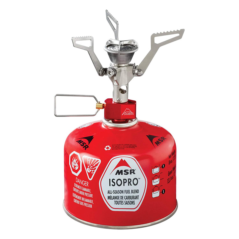 red camping stove