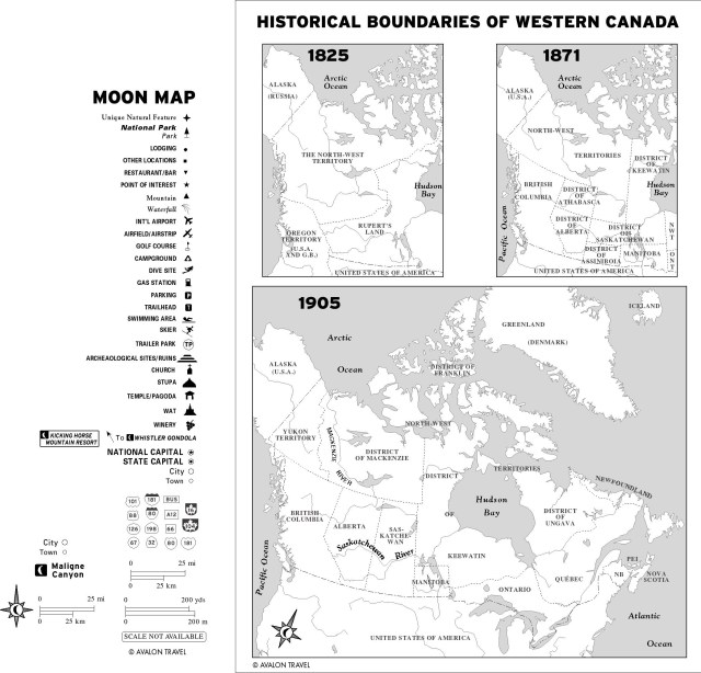Map of the historical boundaries of Western Canada