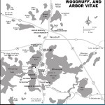Map of Minocqua, Woodruff, and Arbor Vitae, Wisconsin