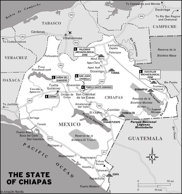 Map of the State of Chiapas, Mexico