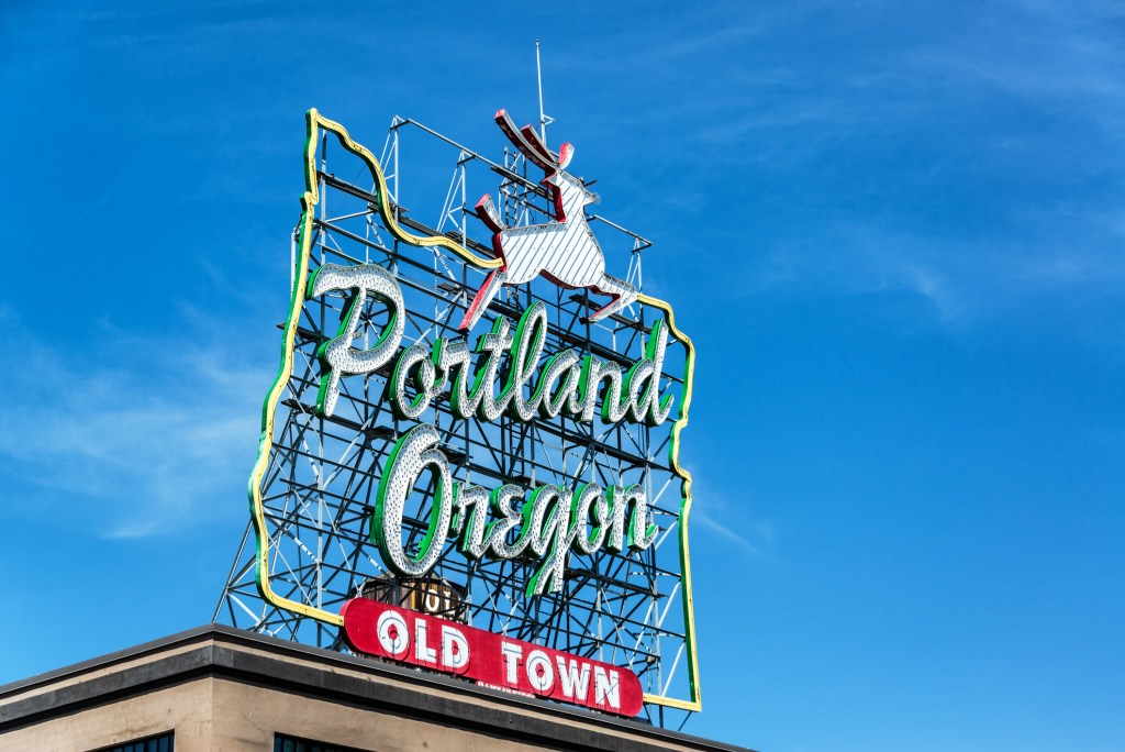 Portland's famous Old Town sign with leaping deer shape