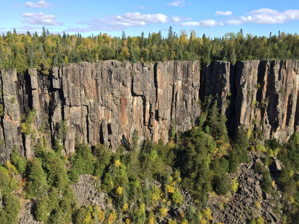Jagged cliffs at Ouimet Canyon Provincial Park.
