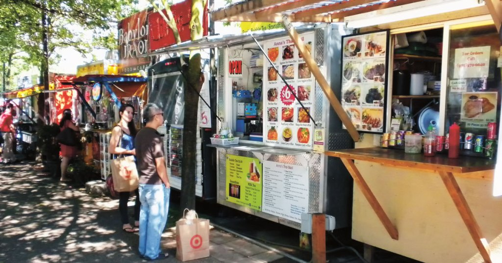 food trucks lined up on a street