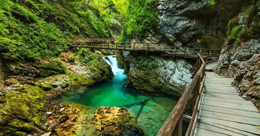 A wooden path passing through Vintgar gorge in Bled, Triglav, Slovenia