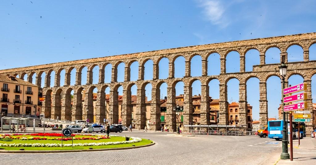 roman aqueduct on a sunny day in segovia