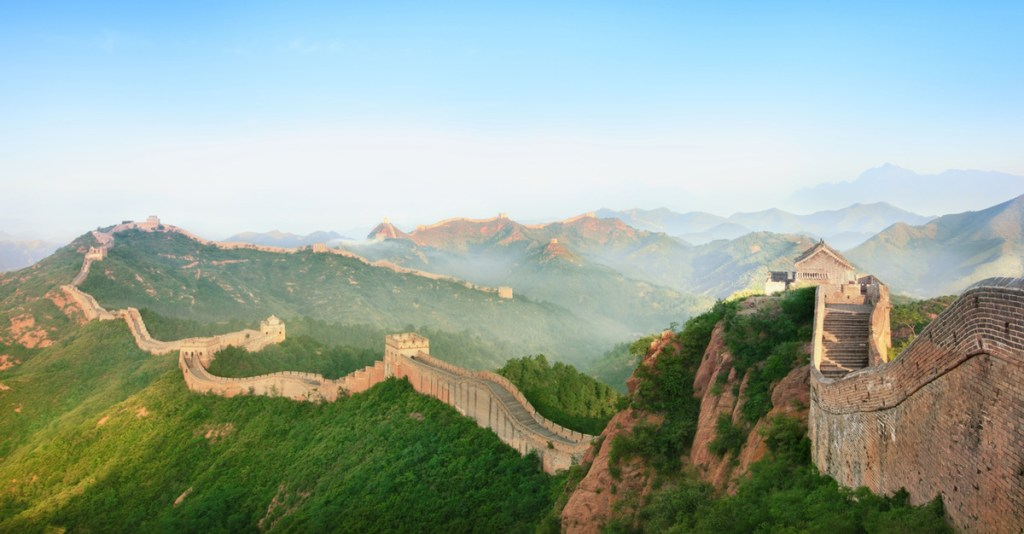mist over the mountainous region of the great wall