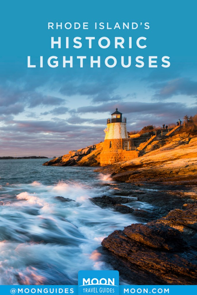 Ocean waves breaking on shore with Castle Hill Lighthouse in RI. Pinterest Graphic.