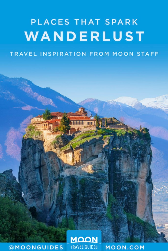 Monastery of Holy Trinity atop a pinnacle, Meteora Greece. Pinterest Graphic.