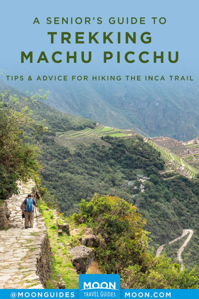 Steep, terraced mountainside with a man hiking a stone path. Pinterest graphic.