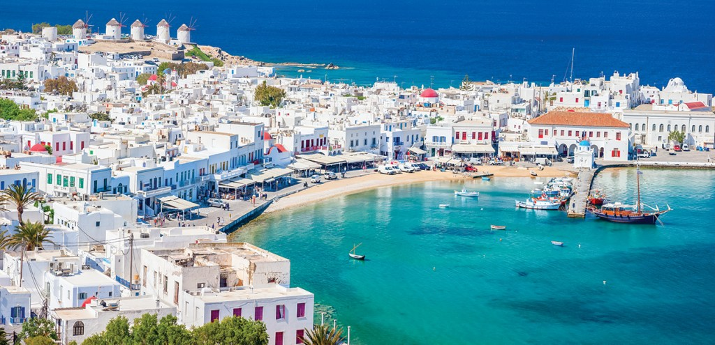 View of the Mykonos Port with clear blue water