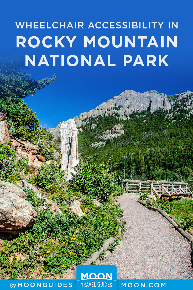 pinterest graphic depicting a boardwalk in nature with overlaid text reading accessibility in rocky mountain national park