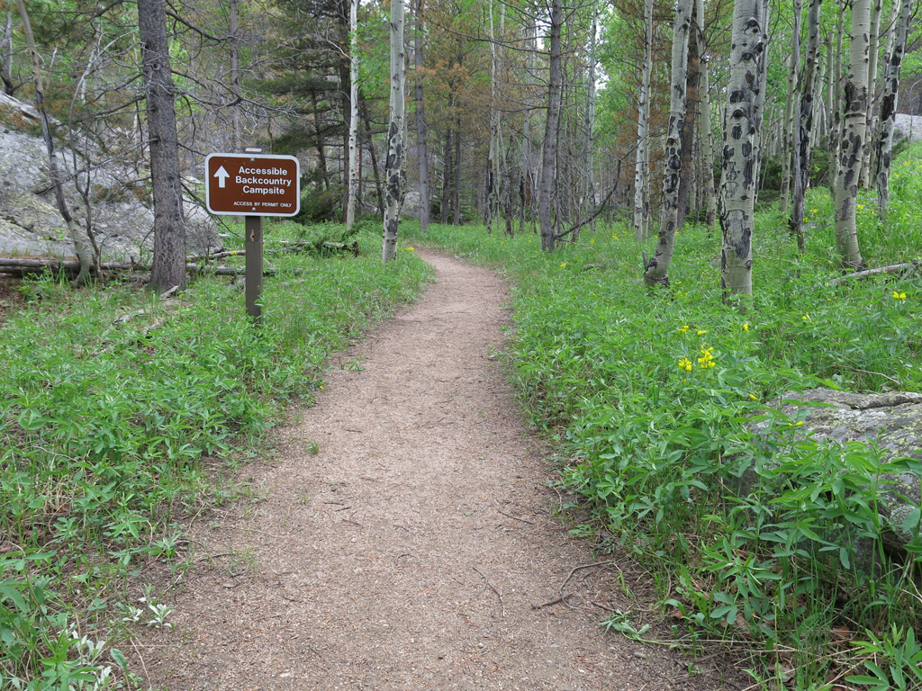 flat dirt path leading into the woods with a sign denoting accessible backcountry camping