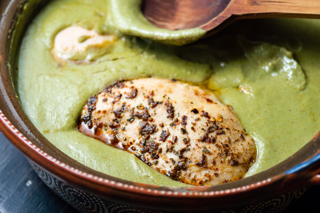 Image of Green Pipian (a green mole sauce with chicken)