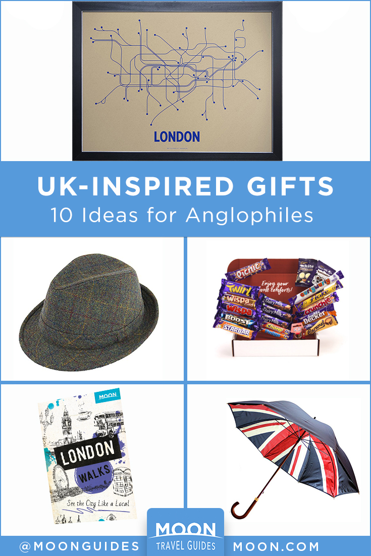 pinterest graphic that reads: uk-inspired gifts, 10 ideas for Anglophiles