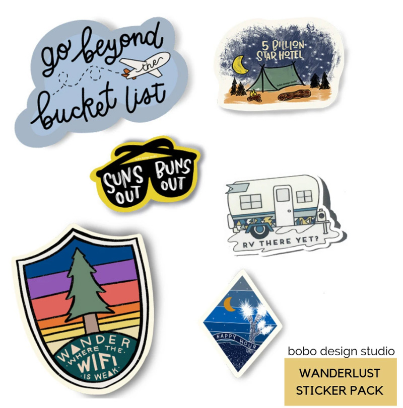 a variety of travel-themed stickers