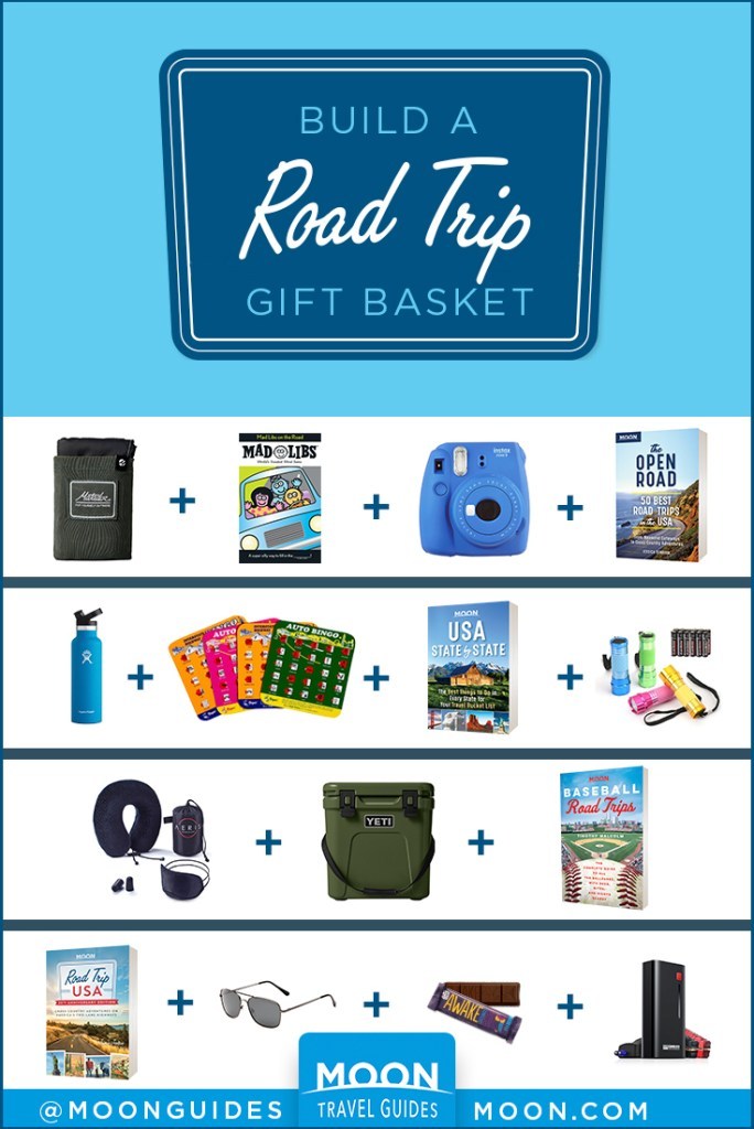 pin graphic with gift guide ideas for road trips