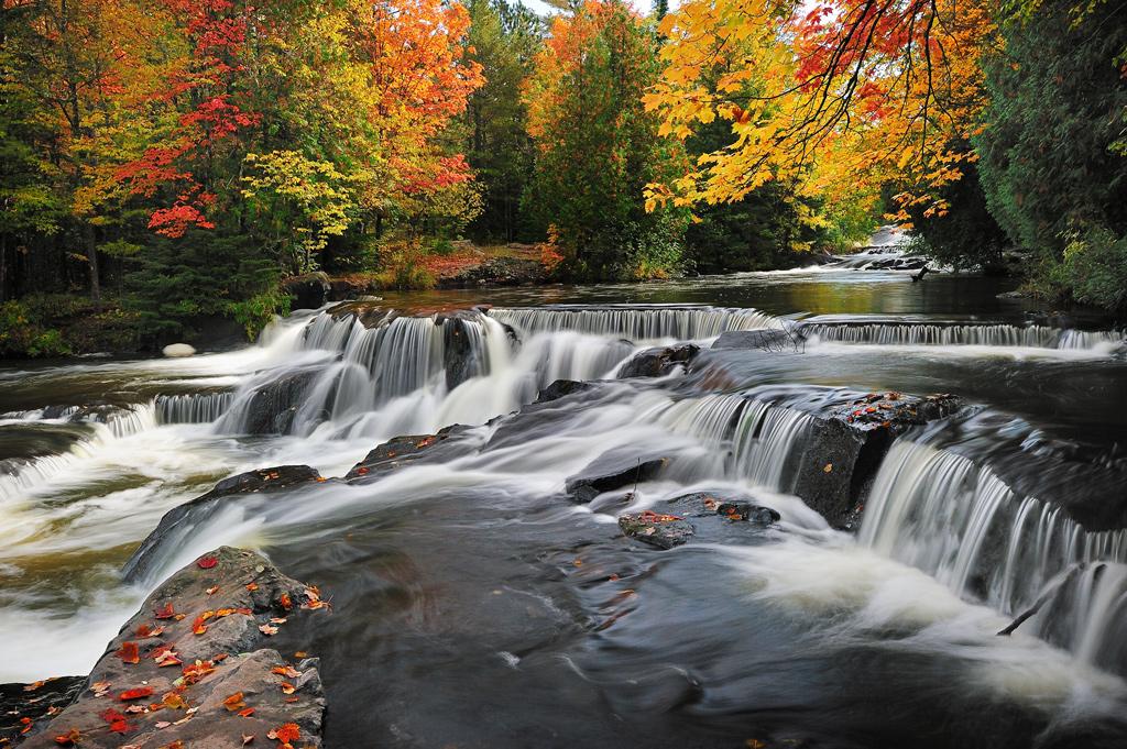 Beautiful Autumn colors at Michigan Bond Falls.
