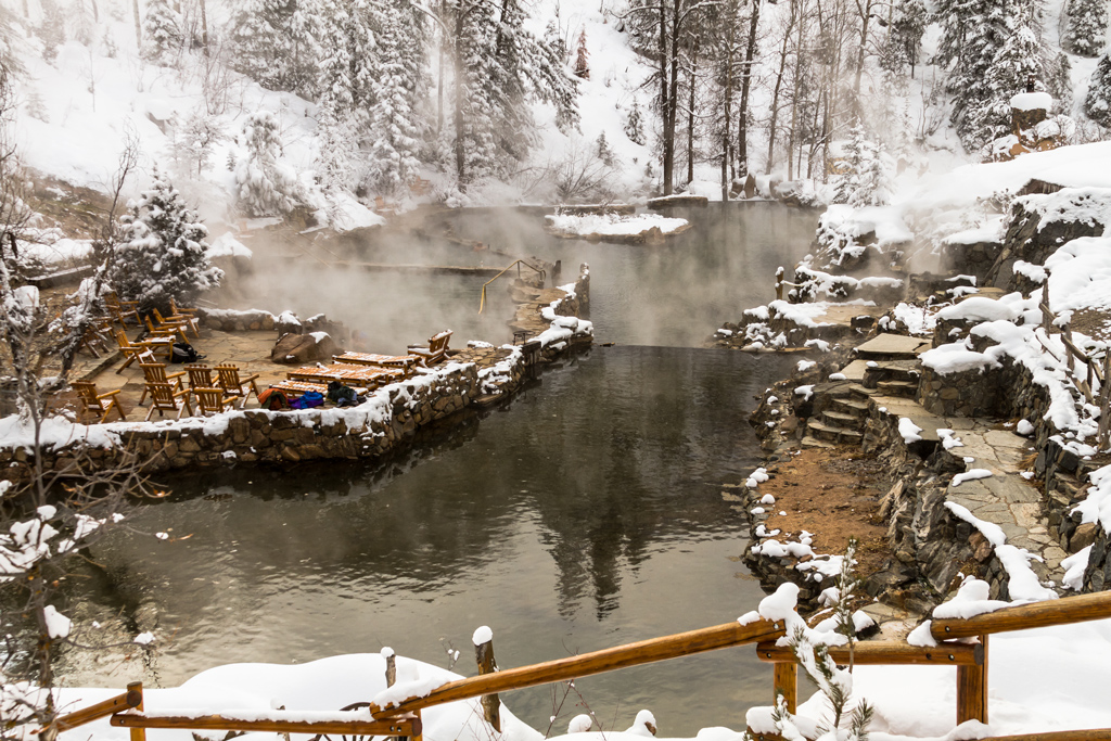 Strawberry Park Hot Spings natural hot springs in winter after freshly fallen snow