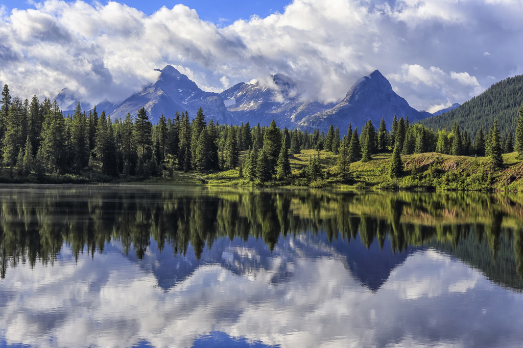 Reflection of mountains in Molas Lake, located in the San Juan mountains of Colorado