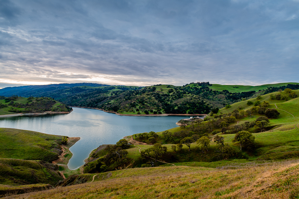 Sweeping views of Lake Del Valle from the trail networks of Del Valle Regional Park.