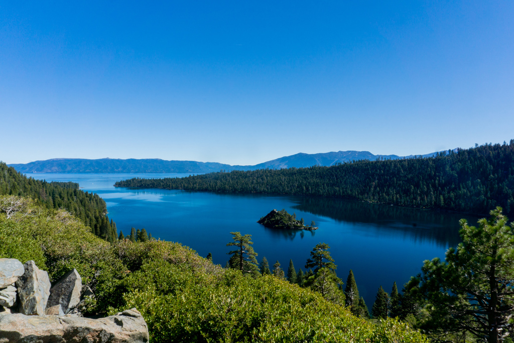 View of Emerald Bay State Park, Lake Tahoe with blue water.