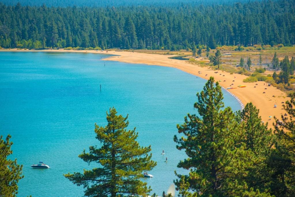 Aerial photo of Tahoe beach