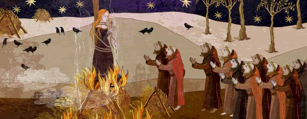 Medieval scene. Inquisition. Burning witches. Monks at a fire with the witch. Ancient book illustration. Middle Ages parchment style. Joan of Arc (Jeanne d'Arc) concept