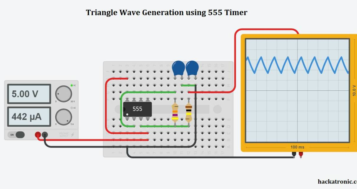 Triangle wave generation using 555 timer