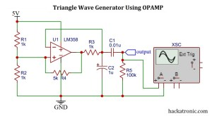 Triangle wave generator using opamp