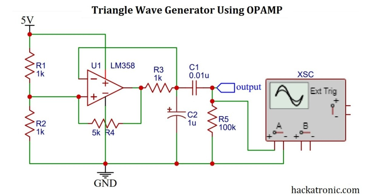 Triangle wave generator using opamp