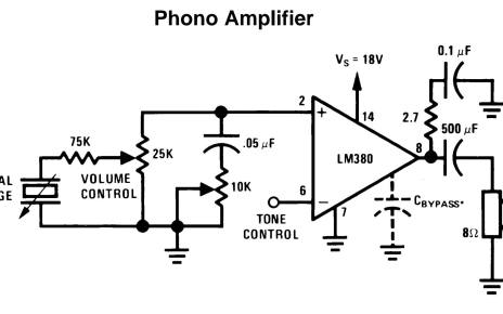Phone amplifier using lm380 IC