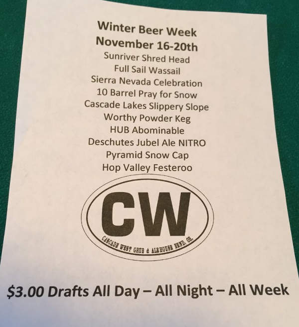 Cascade West Winter Beer Week