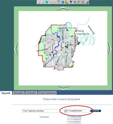Screen shot of Bend's GIS Internet Browser