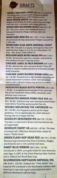 The Hideaway Tavern draft list