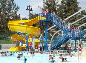 Juniper swim center outdoor activity pool and waterslide