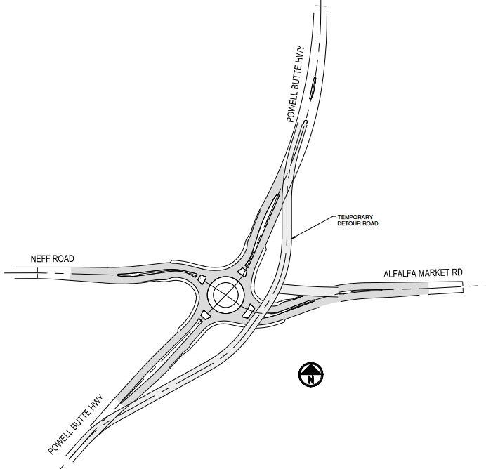Powell Butte Highway road closure for roundabout
