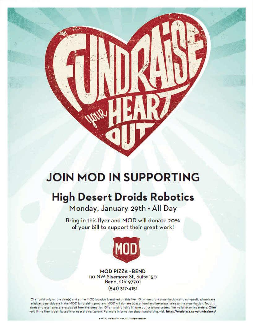 High Desert Droids robotics MOD Pizza fundraiser