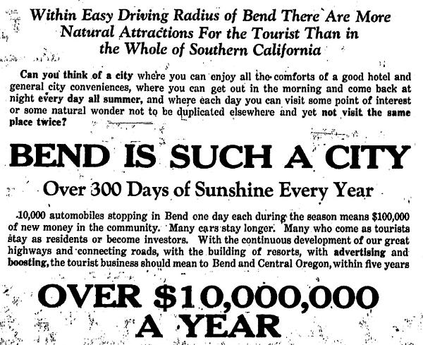 """300 Days of Sunshine"" 1927 Bulletin ad"