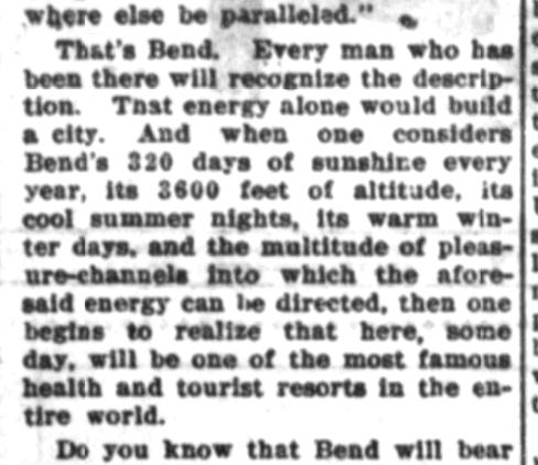 "1912: Bend's ""320 days of sunshine"""