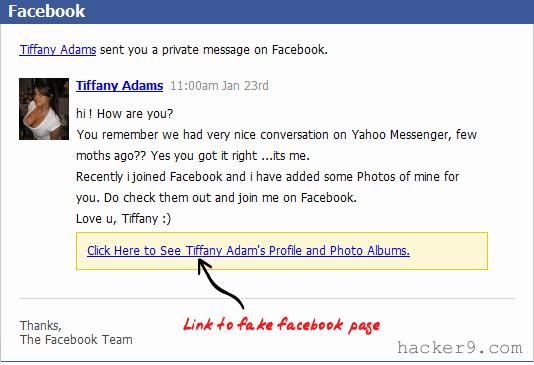 Facebook Phishing Girl scam