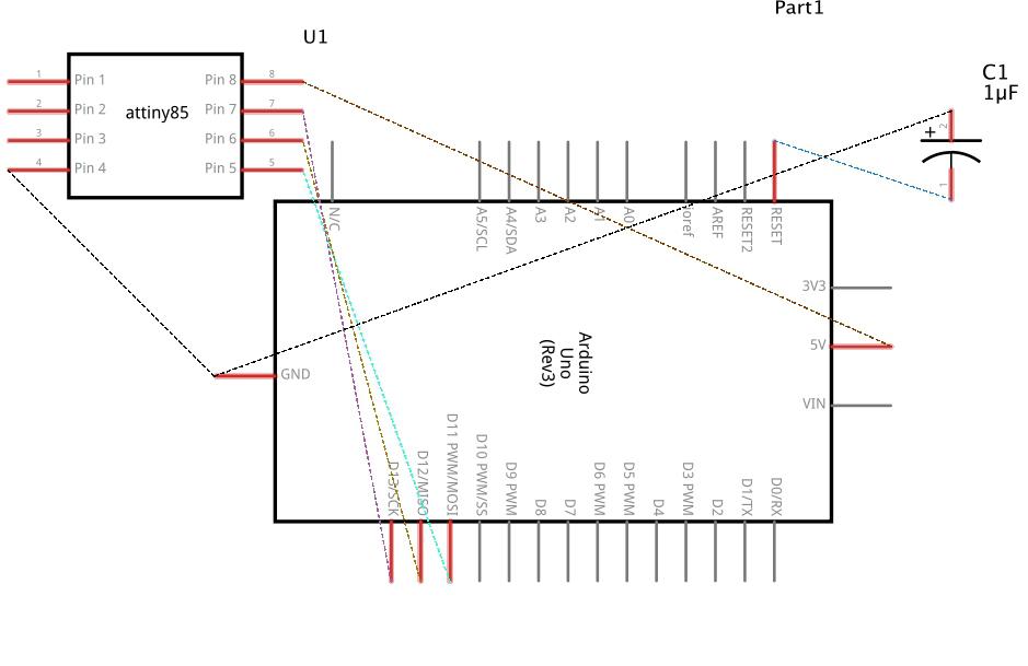 Programming an AT tiny84 micro-controler through an