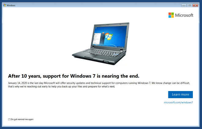 Microsoft Windows 7 Ends Support