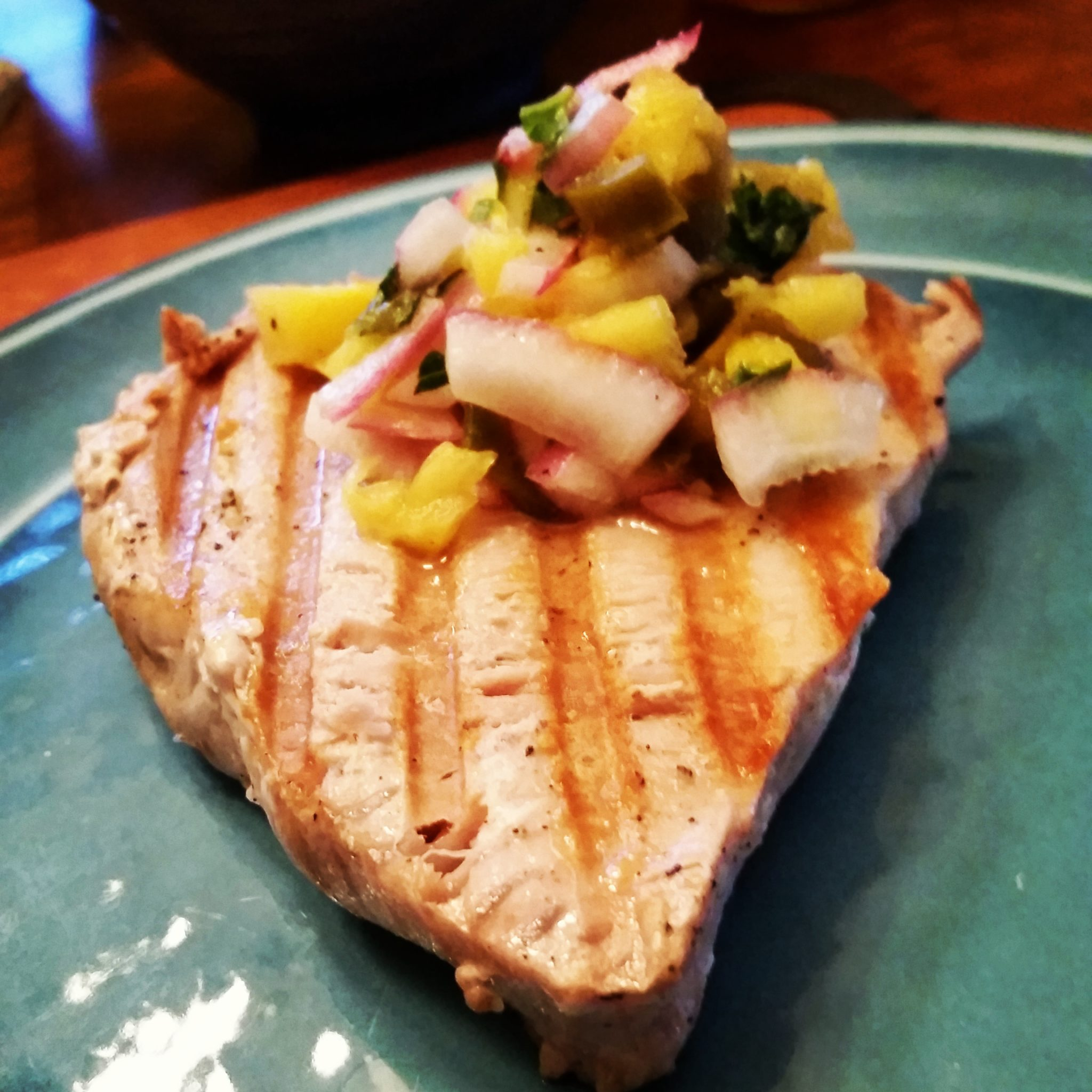 Low Sodium Grilled Swordfish With Pineapple Red Onion Relish