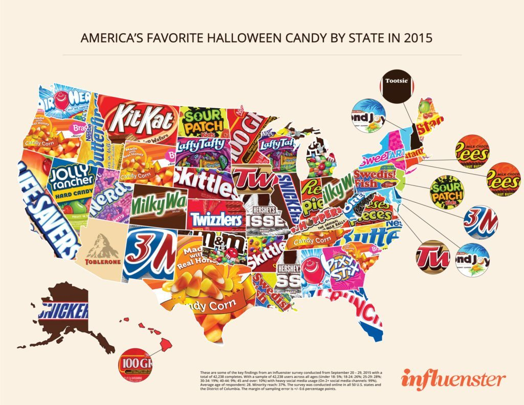 America's Favorite Candy by State 2015