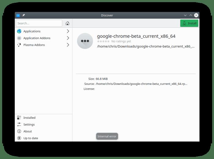 OpenSUSE Discover Error