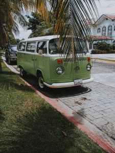 vintage green and white volkswagen van