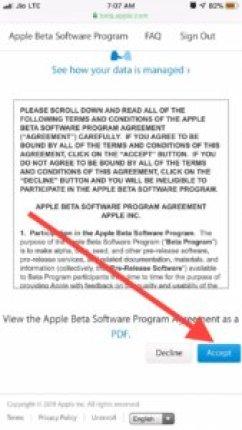 Accept the iOS 13 Public beta agreement